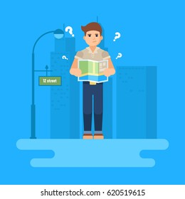 The man is standing with a map in his hands on the street. He is puzzled and he has questions. Skyscrapers on the background. Flat vector illustration. Business infographics