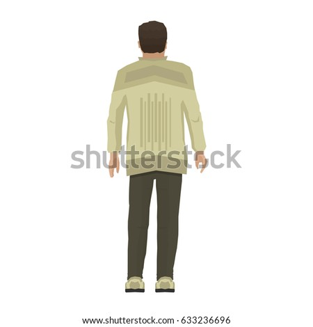Man standing in modern clothes. Cartoon human isolated on white background. Back view of adult boy. Vector illustration in flat style.