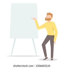 Man standing near board with presentation. Business cartoon character. Speaker pointing at board during presentation. Business presentation concept.  Vector illustration