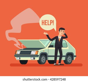 Man standing near broken car and calling. Vector flat cartoon illustration