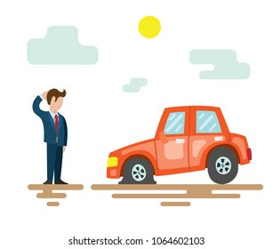 A man is standing next to a broken car. Vector illustration with a red car on the road with a flat tire.