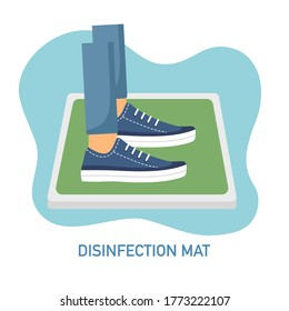 Man standing on disinfection mat to clean shoe from Covid-19 coronavirus and bacteria. Healthcare concept vector illustration on white background.