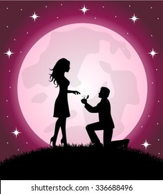 man standing on the knee and offering to marry his beloved. In the background a starry sky and the full moon