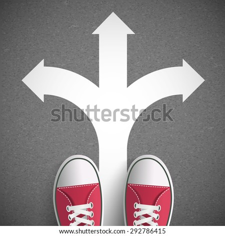 Man Standing On Road Arrows Driving Stock Vector (Royalty Free