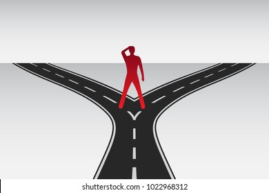 Man standing on the road junction. Decision making. Alternative directions. Difficult choice on the crossroad. Way to the future. Bifurcated road. Abstract vector illustration.