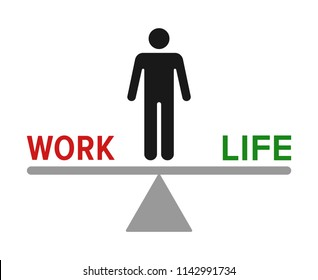 Man standing on seesaw for work life balance flat vector color icon for job apps and websites