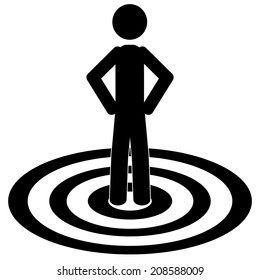 The man is standing on target.It is a stick figure vector. EPS10