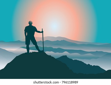 Man standing on the top of mountain and looking at beautiful landscape. Vector illustration. Blue Ridge Mountains, North Carolina, USA.