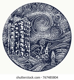 Man standing in post apocalypse city tattoo. Nuclear war t-shirt design. Apocalyptic landscape art