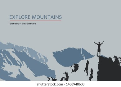 Man standing with raised hands on top of the mountain, outdoor adventure. Flat design vector illustration. Explore mountains flyer