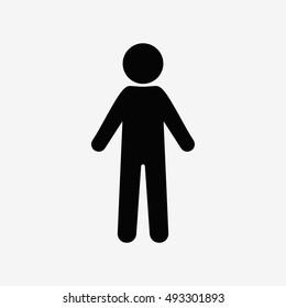 Man standing silhouette. Flat vector cartoon icon. Male sign, man icon, man sign, man vector, man silhouette, man illustration, man black, man body, man symbol
