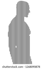 Man Standing Strokes with White Background - Vector Line art