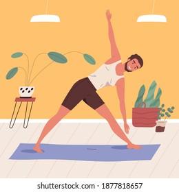Man standing in triangle pose, practicing yoga vector flat illustration. Smiling male character doing asana at home. Happy guy in parivritta trikonasana position. Yogi enjoy morning physical activity