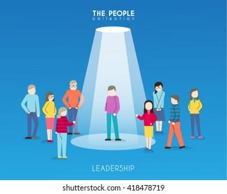 A Man Standing Under Spotlight Conceptual Vector Design