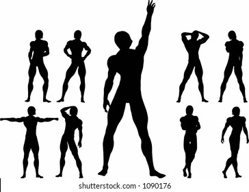 A Man standing upright, various poses