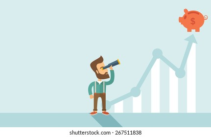 A man standing using telescope to see the graph and piggy bank is on the top of the arrow, it is a sign of progress a business sales is going up. Growing business concept. A contemporary style with