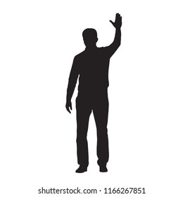 Man standing and waving with his hand, isolated vector silhouette