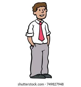 man standing, wearing a tie