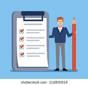 Man stands with big check list, to do list. Successful time management, planning. Flat design vector illustration