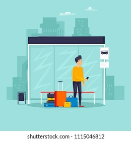 Man stands at a bus stop, a trip, a vacation, a summer. Flat design vector illustration.