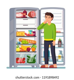 Man stands by the fridge chooses food. Modern flat style thin line vector illustration isolated on white background.