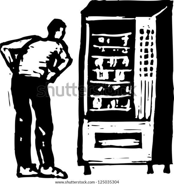 Man stands in front of vending machine