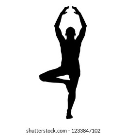 Man stands in the lotus position Doing yoga silhouette icon black color