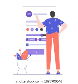 The man stands near the interface of the mobile application. User settings and customization of the social network account. Vector flat illustration.