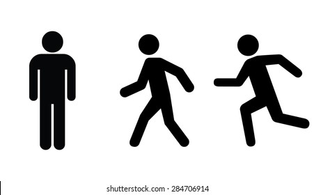 Man stands , walk and run icon set