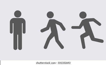 Man stands , walk and run icon set . Vector illustration