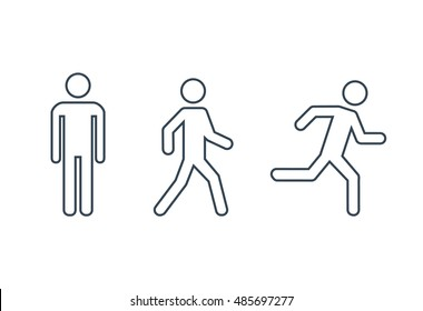 Man stands, walk and run icon set . People symbol. Vector illustration