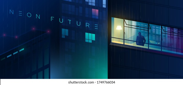A man stands at the window of his house. Stay home. View of the futuristic night city. Rainy night