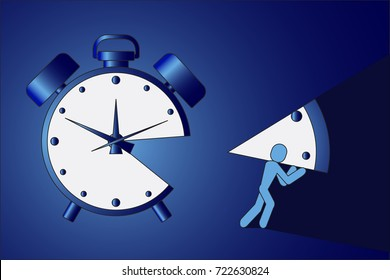 The man stole a piece of the clock illustration