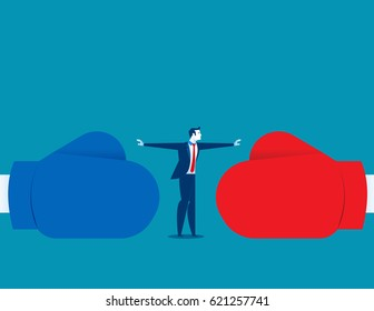 Man stop conflict or stop fighting. Concept business illustration. Vector abstract and character.