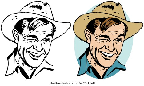 A man in a straw cowboy hat winking.