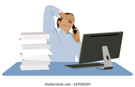 Man stressed. Businessman in panic. A young man sits at his desk and talking on the mobile phone. Collapse on the exchange. Financial crisis. Vector illustration.