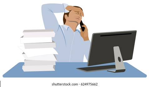 Man stressed. Difficult conversation with a customer. Tired manager sits at the desk and talks to the client on the mobile phone isolated on white background vector illustration.
