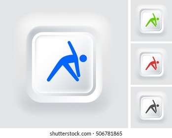 Man Stretching on White Square Button