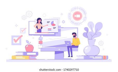 ノートパソコンを背景に本とパソコンを山積みにして、自宅で勉強する男性学生。 Eラーニング、ウェビナー、オンラインビデオトレーニング、遠隔教育のコンセプト。 現代のベクターイラスト。