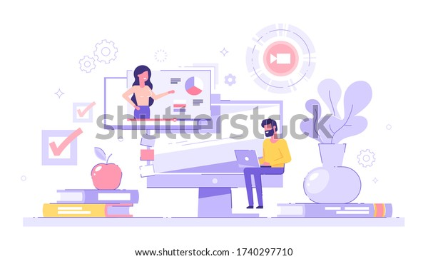 Man student studying at home with his laptop with piles of books and  pc on the background. E-learning, webinar, online video training, distance education concept. Modern vector illustration.