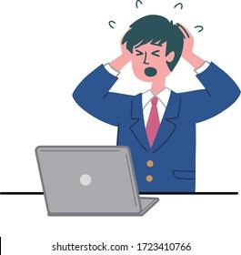 man student uniform laptop computer worried
