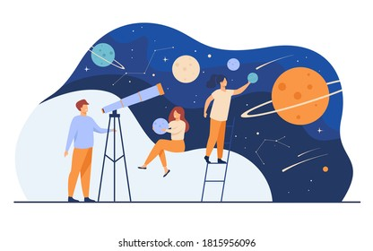 Man studying galaxy through telescope. Women holding planets models, watching meteors and constellation of stars. Flat vector illustration for horoscope, astronomy, discovery, astrology concepts