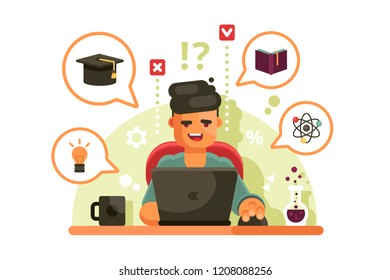 Man studying with laptop. Online education concept. Student learning process. Flat. Vector illustration.