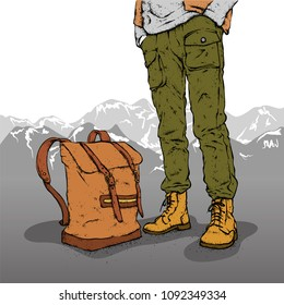 A man in stylish shoes, pants and with a backpack. Walk, trek or travel. Hipster. Clothes and accessories. Vector illustration.