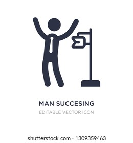 man succesing icon on white background. Simple element illustration from Business concept. man succesing icon symbol design.