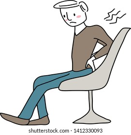 Man suffering from back pain. Unhappy man feeling hurt from backache. Man suffering pain from sick building syndrome or office syndrome such as shoulder pain, backache, stiff neck.