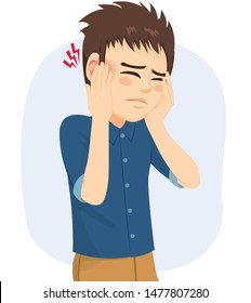 Man suffering from earache otitis infection having hearing problems with pain