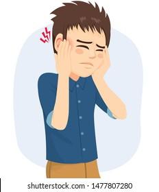 Menschen mit Ohrenschmerzinfektion Otitis mit Hörstörungen