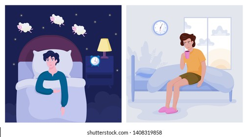 Man suffering from the insomnia. Guy with no sleep at night lying in the bed and counting sheep. Exhausted character in the morning. Flat vector illustration