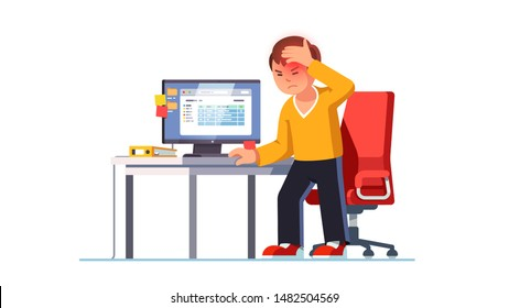 Man suffering sudden brain stroke attack at workplace holding head in pain standing next to computer work office desk. Cerebral hemorrhage or ischemic seizure. Flat vector character illustration
